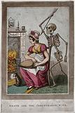 Death approaches a woman in a domestic setting