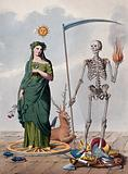Two allegorical figures: a skeleton holding a scythe and a ball of fire stands next to a female figure