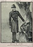 Death, as a policeman, approaches a ragged woman and her baby in a London park
