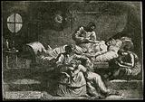 Eudamidas dictating his will on his deathbed, leaving the care of his mother and daughter to two friends