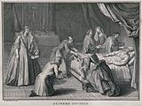 A priest administering extreme unction to a dying man in a bedchamber with a makeshift altar