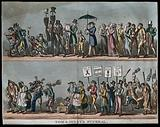 The funeral procession of Tom and Jerry, the mourners including gamblers, pugilists and down-and-outs