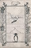 Ornamented borders of Tartary oak (Quercus McCormickii), anchors and a polar bear round images of the Antarctic Sea …