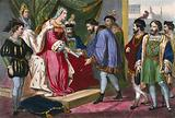 Christopher Columbus receiving from Queen Isabella of Spain his nomination as Viceroy of the territories he will …