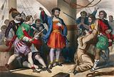 Christopher Columbus, on his ship, admonishes his men for their lack of courage
