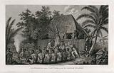 Captain Cook being offered a pig by the inhabitants of the Sandwich Islands during his third voyage