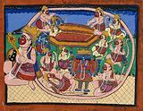 Hanuman kneeling with tail encircling Rama and Sita in bed, while several monkeys circle around Ravana