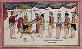 Guru Gobind Singh mixing nectar for his disciples at the birth of Khalsa