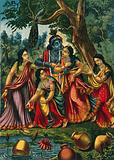 Krishna playing with four cowgirls at a well
