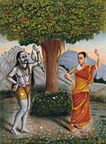 Shivaite yogi accosts a woman under a banyan tree