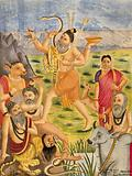 Shiva trampling on animal sages accompanied by deer, during Daksha's sacrifice, Parvati stands to one side
