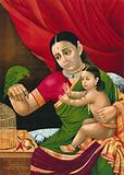 Rama and his mother with a parrot