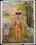 Dattatreya accompanied by his four dogs among cows