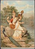 Sarasvati with her sitar and peacock