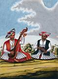 Indian musicians with their instruments
