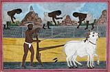 A man ploughing with oxen