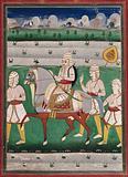 Rana Ranjit Singh on a horse with three attendants