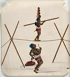 An acrobat walking a tightrope with four mud pots on his head while a musician looks on