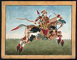 A warrior sitting on a mythical animal shaped like a horse but formed from a variety of different animals, bird and fish