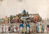 Durbar of the Badshah of Oudh: three Europeans standing in front of a large crowd of people waiting to greet the king …