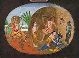 An Indian deity seated on a throne, while a goddess stands before a headless body gushing out streams of blood with …