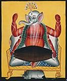 Ganesh playing the dhola (double drum)