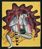 Shiva sits on a tiger skin with sitar in hand