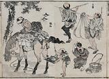 Left, a small man (a dwarf?) lifts a horse's tail with a bamboo rod to catch its faeces in a scoop