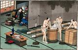 Japanese funeral customs: two attendants wearing loin-cloths place the body of a dead man in a round wooden vessel …