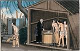 Japanese funeral customs: in a wooden temple outbuilding, overseen by a Buddhist monk, three attendants dressed in …