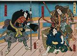 Actors on a bridge at night: two heavily armed warriors confront a youth (Saraka-maru)