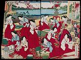 Court ladies producing silk under the supervision of the empress