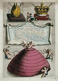 Small winged boys are flying around a large petticoat with an inscription under a bishop's mitre, rod and cross and a …