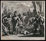 Gaius Mucius Scaevola's ordeal by fire: Gaius Mucius is holding his outstretched arm over the fire blazing in a …