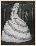 Caroline of Brunswick, Princess of Wales, wearing a lavish dress and a high head-dress of feathers