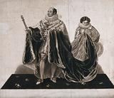 King William IV holding a sceptre and his crown