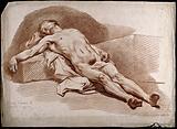 A reclining sleeping male nude