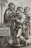 A surgeon extracting a tooth from the mouth of a young man while a young woman picks the patient's purse