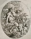 Bacchus, Ceres and Pomona with a cornucopia of fruit and corn