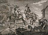 Hudibras and his squire Ralpho depart on a pair of horses with two rustic peasants watching