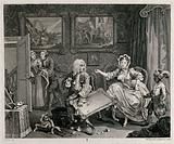 Moll Hackabout, the mistress of a wealthy Jewish merchant in a richly decorated apartment room, kicks over a tea table …