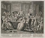 The rake carouses in a tavern full of prostitutes