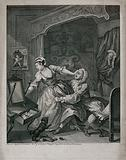 In a lady's bedchamber a young woman struggles as a man pulls her towards him clutching at her dress