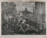 A triumphant candidate, borne aloft by his supporters, is about to topple from his chair due to an obstructing donkey, …