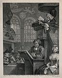 A sleepy congregation in a country church with one clergyman reading the serman with the aid of a magnifying glass and …
