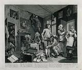A rake, Tom Rakewell, is measured for new clothes while a servant is hanging the room in black to show mourning
