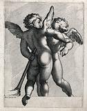 Two winged young boys, one of whom holds a lighted torch
