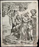 Pan seated next to a nymph who holds a cornucopia with Cupid playing cymbals before a herm