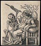 A sick old woman, sitting supported by pillows as a skeleton pounces aiming his spear at her eyes