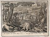 Hunting: dogs baiting a boar in the foreground, while other wild boar scatter through wicker pens or dive into a muddy …